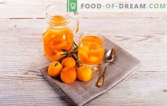 Abrikosų kompotas žiemai be sterilizacijos - natūralus! Receptai kompotuoja abrikosus žiemai be sterilizavimo rūgštimi, mėtų, vyšnių ir kt.