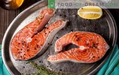 Losos zrezek v ponvi, v pečici, na žaru. Šest variacij zrezka lososa s krompirjem, limono, zelenjavo