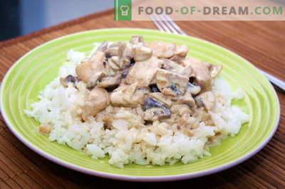 Vištiena grietinėlės padaže - geriausi receptai. Kaip tinkamai ir skaniai virti vištiena grietinėlės padaže.