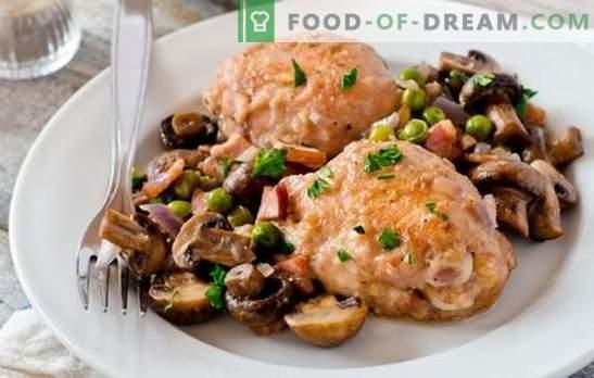 Vištiena su grybais yra geriausias būdas paruošti mėsą šoniniam patiekalui. Kaip virti vištieną su grybais (žingsnis po žingsnio receptas)