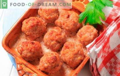 Gaļas bumbiņas krāsnī: gaļa, siers, krējums. Interesantas receptes cepeškrāsnī ceptiem gaļas kotletes