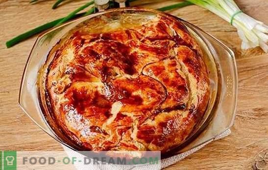 Mėsos pyragas iš gatavo lapų tešlos: autoriaus žingsnis po žingsnio nuotrauka. Kaip greitai kepti mėsos pyragą su varškės lapų tešla su malta mėsa