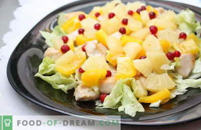 Salotos su ananasais ir vištiena - geriausi receptai. Kaip tinkamai ir skaniai paruošti salotą su vištiena ir ananasais.