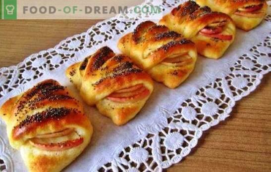 Aploksnes ar āboliem - vilinošas lietas! Receptes aploksnes ar āboliem no pūkas, mīklas mīklas, rauga mīklas