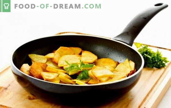 Meistrams ir naujokams: kaip kepti bulves keptuvėje. Močiutės jums pasakys, kaip kepti bulves su pluta į keptuvę