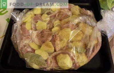 """Kepkite bulves su mėsa savo rankovėmis: tingus receptus? Sultingas, ruddy, aštrus ir """"girtas"""" - bulvės su mėsa rankovėje"""