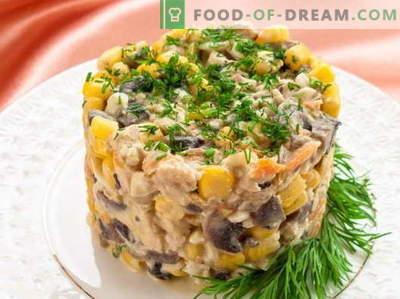 Salotos su kukurūzais ir vištiena - geriausi receptai. Kaip tinkamai ir skaniai virti salotos su kukurūzais ir vištiena.