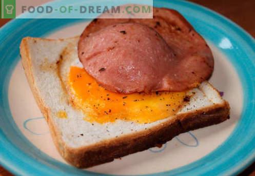 Karšti sumuštiniai su dešra, sūriu, kiaušiniais, pomidorais - geriausi receptai. Kaip virti karštų sumuštinių krosnyje, keptuvėje ir mikrobangų krosnelėje.