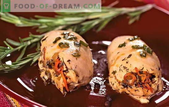 Įdaryti vištienos filė - elegantiškas ir skanus! Įdaryti vištienos filė Receptai su sūriu, kumpiu, slyvomis