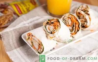 Lavash roll (žingsnis po žingsnio receptas) - viskas išradinga yra paprasta! Laipsniškas pita duonos ritinio receptas su įvairiais įdarais