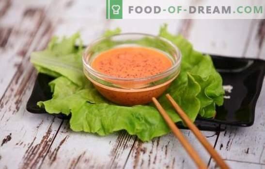 Spicy sås - Japansk not på menyn! Recept för heta kryddiga såser med peppar, kimchi, lodda och flygande fiskkaviar, majonnäs, vitlök