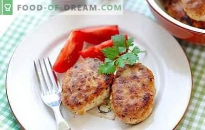 Kiaulienos ir vištienos kotletai gali būti virti ant krosnies ir keptuvėje! Sultingų ir ruddy kiaulienos ir vištienos kotletų receptai