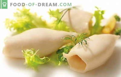 ¿Cómo cocinar calamares para ensaladas y otros platos? ¿Cuánto cocinar los calamares, por lo que eran de sabor suave y agradable?