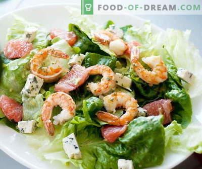 Krevetės salotos - geriausi receptai. Kaip tinkamai ir skaniai virti krevečių salotas.