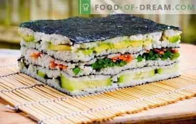 Suši pyragas: šviesus ir stilingas! Suši pyragaičiai su raudonomis žuvimis, krevetėmis, krabų lazdelėmis, ikrais