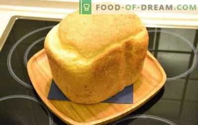Balta duona kepimo mašinoje - klasikinė ir su įvairiais priedais. Baltos duonos su razinomis, medumi, morkomis, česnakais - duonos mašinų receptais