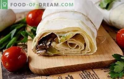 Lavash ir vištienos filė shawarma su grybais - naminis greito maisto. Žingsnis po žingsnio autoriaus foto receptas skanus naminis shawarma
