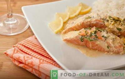 Skanus upėtakis grietinėlėje: švelnus, sultingas, skanus. Paprasti ir skanūs receptai upėtakiams grietinėlėje ir įvairiuose padažuose