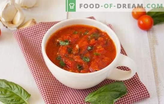 Adjika iš pomidorų - taip skirtinga! Paprastas, aštrus, su česnakais arba krienais, žalias arba virti: adjika pomidorai kiekvienam skoniui