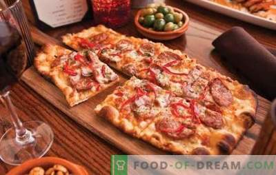 Homemade pizza: recipes with sausage, tomatoes, mushrooms, chicken, cucumbers. A selection of recipes for homemade pizza