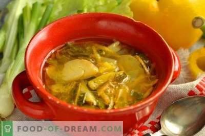 Šviežia kopūstų sriuba su vištiena ir lapų salotomis