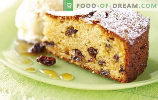 Pyragas su razinomis - jame tikrai yra razinų! Receptai naminiams pyragams su razinomis ir obuoliais, riešutais, džiovintais abrikosais, ryžiais, varškėmis