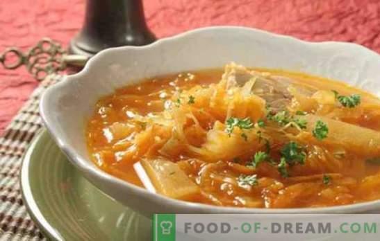 sriuba iš raugintų kopūstų lėtoje viryklėje su jautiena, kiauliena, kalakutiena. Kaip virti kopūstų sriubos lėtoje viryklėje