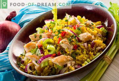 Ryžių salotos - penki geriausi receptai. Kaip tinkamai ir skaniai virti ryžių salotas.