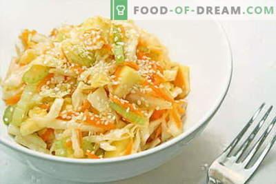Kapsasalat - parimad retseptid. Salatite valmistamine värskest, lillkapsast, merest ja hiina kapsast.