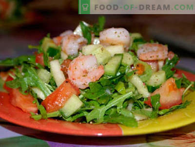 Salads with arugula and shrimp - the five best recipes. How to properly and deliciously prepare salads with arugula and shrimp.