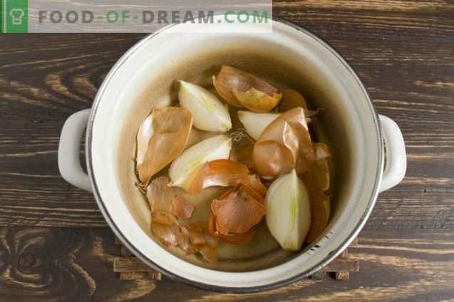 Kiaulienos krūtinėlė, virtos svogūnų odomis
