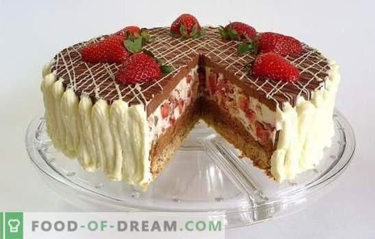 Šokoladinis pyragas su braškėmis - svajonė apie saldų dantį! Braškių gėrimų braškių šokoladiniai pyragaičiai