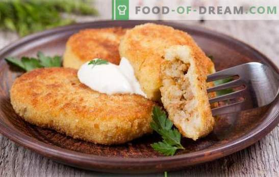 Zrazy bulvė su mėsa - močiutės šedevras! Skanus bulvių virimas su mėsa keptuvėje, orkaitėje, garuose