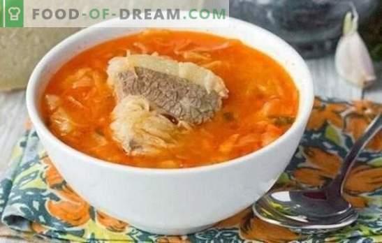 Mėsos sultinio sriuba - visada teisinga! Kvapnios, skanios kopūstų sriubos, pagamintos iš šviežių ir raugintų kopūstų, paruošimas pagal geriausius receptus