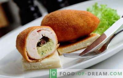 Vištienos Kijevo kotletai iš maltos mėsos - vištiena, kiauliena, sumaišyti. Paprasti receptai Kijevo stiliaus maltoms mėsoms - kepti ir kepti