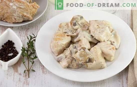 Пилешко говедско месо stroganoff - јадење за секој вкус и буџет. Пилешко говедско месо од портокал со павлака, кромид, печурки, домати