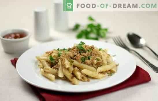 Navy makaronai su smulkinta mėsa - tai greitas ir maistingas! Top 10 makaronų stiliaus receptai su malta mėsa: kiauliena, vištiena, kolektyvinė