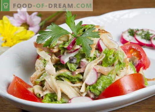 Blynų salotos - geriausių receptų pasirinkimas. Kaip tinkamai ir skaniai virti blynų salotos.