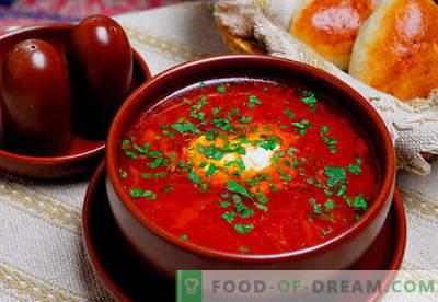 Borscht žalia, raudona, liesa, Ukrainos - geriausi receptai. Kaip tinkamai ir skaniai virti sriuba su pupelėmis, grybais, skrudintuvais lėtoje viryklėje.