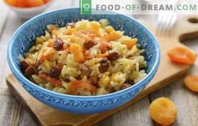 Pilafas su džiovintais abrikosais ir razinomis - originalūs tradicinio patiekalo receptai. Kaip virti ryžius su džiovintais abrikosais ir razinomis lėtoje viryklėje ir katiluose