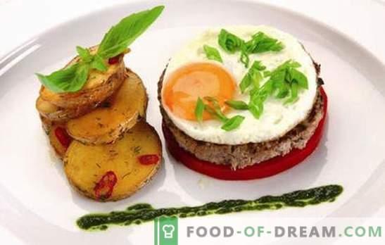 Beefsteak su kiaušiniu: 2 in 1! Įvairių kepsnių receptai su kiaušiniais iš jautienos, kiaulienos, vištienos, ryžių, runkelių, prancūzų kalba