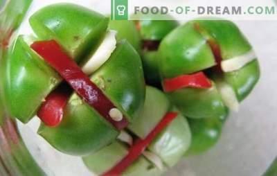 Žalieji pomidorai su česnakais - galite padaryti jį skaniu! Žalių pomidorų derlius su česnakais įvairiais būdais
