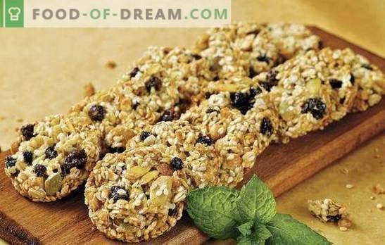 Cukraus neturintys avižiniai sausainiai - naudingi gėrimai. Avižiniai sausainiai be cukraus su džiovintais vaisiais, medumi