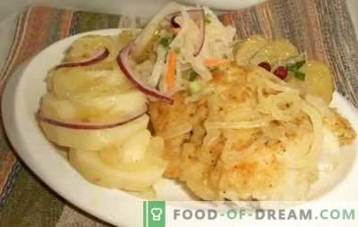 Menkė su svogūnais - virkite orkaitėje sveikas ir skanias žuvis. Menkių receptai su svogūnais ir morkomis, daržovėmis, sūriu ir kt.