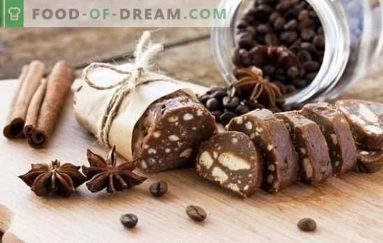 Šokolado dešra - puikūs desertai. Šokoladinės dešros kepimas iš sausainių, su kakava, kondensuotas pienas, riešutai