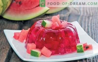 Gaivus arbūzų želė - lengvas desertas vaikams ir suaugusiems. Kaip padaryti arbūzą želė atostogoms ir pasirengti žiemai