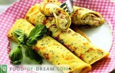 Blynai su sūriu, žalumynais, kumpiu, vištiena ant pieno ir kefyro. Populiarūs blynų su sūriu receptai