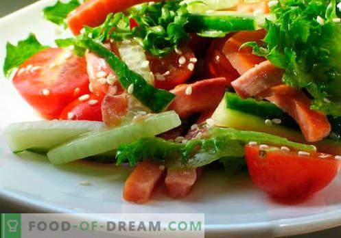 Daržovių salotos - penki geriausi receptai. Kaip tinkamai ir skaniai paruošti salotas su augaliniu aliejumi.