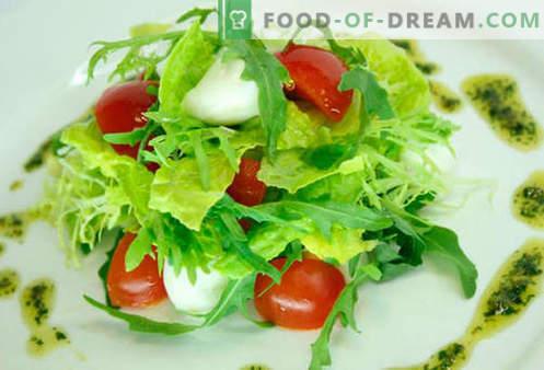 Vyšnių pomidorų salotos - penki geriausi receptai. Kaip tinkamai ir skaniai virti salotos su vyšnių pomidorais.