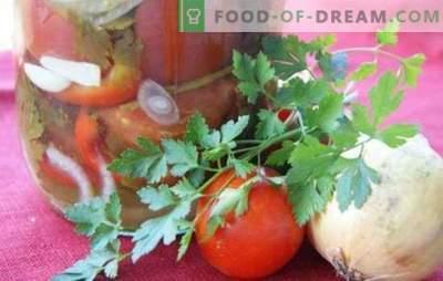 Pomidorų salotos su svogūnais žiemai: gražus saldus ir aštrus mišinys. Geriausių salotų receptų rinkinys žiemai su pomidorais ir svogūnais